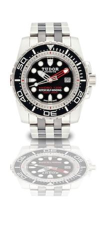 Tudor. A fine stainless steel and ceramic automatic diver's bracelet watchHydro 1200, Ref:25000, Case No.J282402, Circa 2009