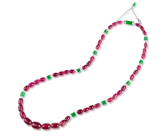 A tourmaline, jadeite and diamond necklace