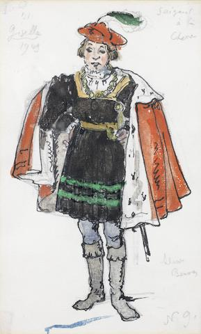Alexandre Benois (Russian, 1870-1960) A costume design for Giselle 22.5 x 14.5cm (8 7/8 x 5 11/16in).