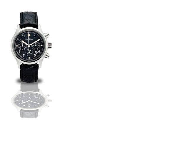 IWC. A fine stainless steel calendar chronograph automatic wristwatch Der Fliegerchronograph, Ref:3706, Case No.2602305, Circa 1998