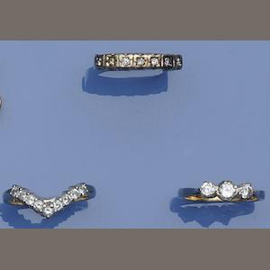 A collection of three diamond set rings (3)