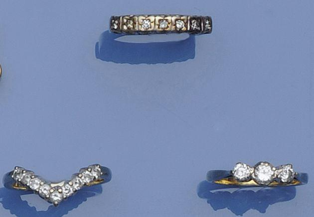 A collection of three diamond set rings, (3)