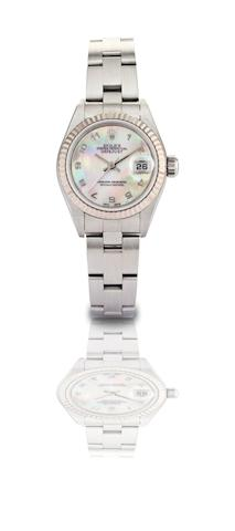 Rolex. A fine and rare stainless steel and mother of pearl calendar lady's automatic bracelet watch Oyster Perpetual Datejust, Ref:79174, Case No.Y980399, Made in 2002