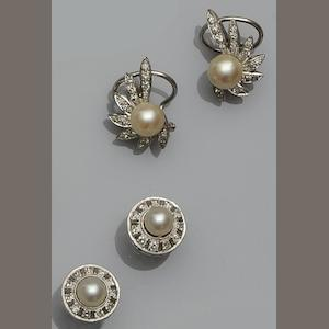 Two pairs of cultured pearl and diamond earstuds