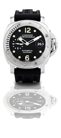 Officine Panerai. A rare limited edition stainless steel calendar automatic diver's wristwatch Luminor Submersible, Ref:PAM 24, No:H0295/1100, Case No.BB1142849, Made in 2005