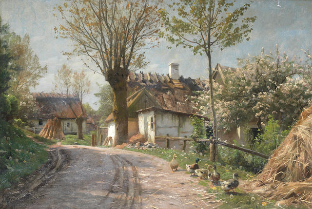 Peder Mork Mönsted (Danish, 1859-1941) A country lane, Jyllinge