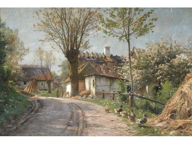 Peder Mork Mönsted (Danish, 1859-1941) A country lane, Jyllinge