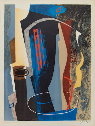 John Piper C.H. (British, 1903-1992) Abstract Composition Autolithograph in colours, 1936, on machine-made lithographic cartridge paper, one of a small number of impressions signed in pencil, printed by Curwen Press, published by COntemporary Lithographs Ltd., London, 610 x 458mm (24 x 18in)(I) unframed