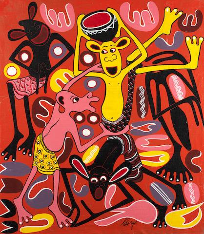 George Lilanga di Nyama (Tanzanian, 1934-2005) 'Michego Ya Watoto' (Children's Games) unframed