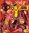 George Lilanga di Nyama (Tanzanian, 1934-2005) 'Michego Ya Watoto' unframed