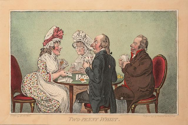 James Gillray (British, 1757-1815) A Collection of Caricatures 'Two-Penny Whist', etching, 1796, with bright, contemporary hand colouring, on wove, with margins, published Jan 11th by H Humphrey, London, 250 x 350mm (9 7/8 x 13 3/4in)(PL), 'Cockney Sportsmen', etchings, 1800, the set of four, with hand colouring, on wove, published Nov 12th by H Humphrey, London, 200 x 295mm (7 7/8 x 11 2/3in)(I), 'Pillars of the Constitution', etching, 1809, with hand colouring, on wove, published Feb.1st by H Humphrey, London, 333 x 230mm (13 x 9 1/8in)(SH) Coll 4 framed