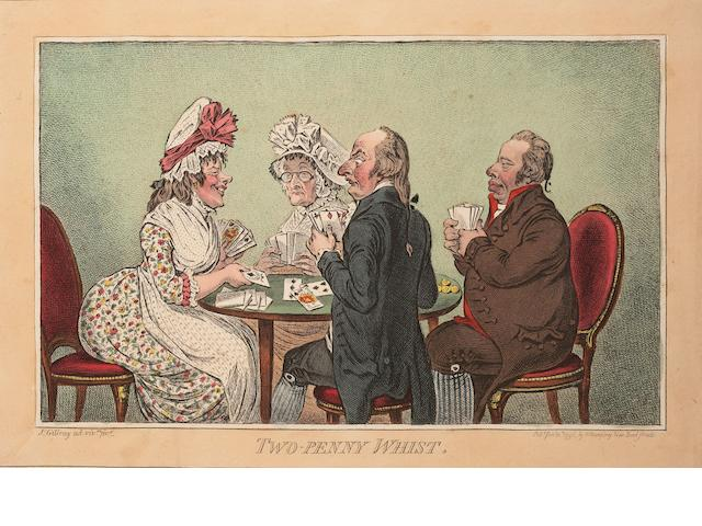 James Gillray (British, 1757-1815) Three caricatures 'Two-Penny Whist', etching, 1796, with bright, contemporary hand colouring, on wove, with margins, published Jan 11th by H Humphrey, London, 250mm x 350mm (9 7/8in x 13 3/4in)(PL), 'Cockney Sportsmen',    'Pillars of the Constitution',  3