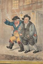 James Gillray (British, 1757-1815) A Collection of Caricatures 'Two-Penny Whist', etching, 1796, with bright, contemporary hand colouring, on wove, with margins, published Jan 11th by H Humphrey, London, 250mm x 350mm (9 7/8in x 13 3/4in)(PL), 'Cockney Sportsmen', etchings, 1800, the set of four, with hand colouring, on wove, published nov 12th by H Humphrey, London, 200mm x 295mm (7 7/8in x 11 2/3in)(I), 'Pillars of the Constitution', etching, 1809, with hand colouring, on wove, published Feb.1st by H Humphrey, London, 333mm x 230mm (13in x 9 1/8in)(SH)  Coll 4 framed