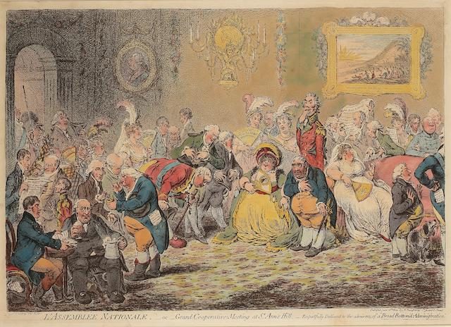 James Gillray (British, 1757-1815) L'Assemblée Nationale - or Grand Cooperative Meeting at St Ann's Hill  Etching, 1804, with vibrant hand colouring, on wove, published June 18th, by H Humphrey, London, 315mm x 455mm (12 1/4in x 17 7/8in)(PL)