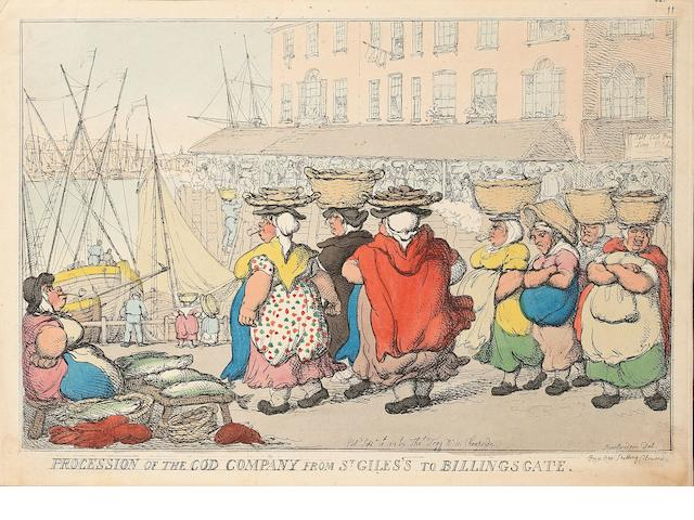Thomas Rowlandson (British, 1756-1827) Collection of caricatures Etchings with hand colouring including 'Procession of the Cod Company from St Giles's to Billingsgate', 1810, on wove, published Sept 18th by Thomas Tegg, London, 250mm x 355mm (9 3/4in x 14in)(SH), 'The enraged Son of Mars and Timid Tonsor', 'Dramatic Demireps at Their Morning Rehearsal', John Bull at the Italian Opera', 'Tragedy in the Country', 'Tragedy in London', 'Bath Races', 1810, on wove, published by Thomas Tegg, London, 215mm x 333mm (8 1/3in x 13 1/8in)(I), 'Dressing for a birthday', 'The Bassoon with a French Horn Accompaniment', on wove, watermarked 1821, published by W McCleary, 250mm x 350mm (9 7/8in x 13 3/4in)(PL), plus an etching by an unknown hand entitled 'A Pig and a Pullet' Coll unframed