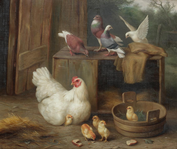 Edgar Hunt (British, 1876-1955) Farmyard scene with chickens; Chickens, chicks and doves in a farmyard