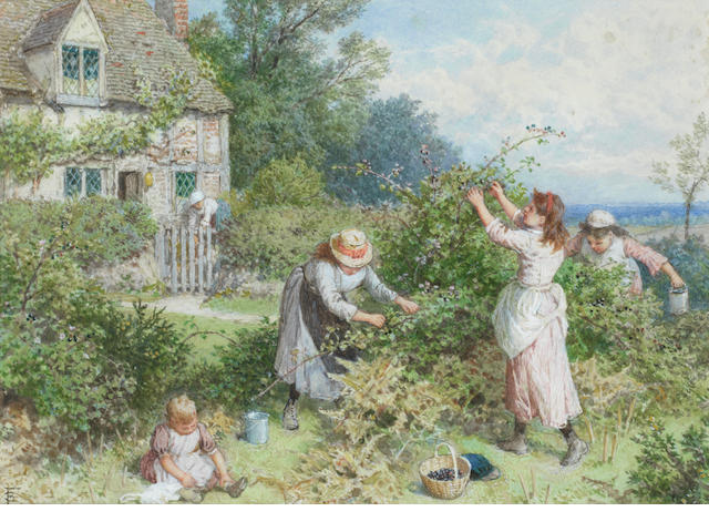Myles Birket Foster, RWS (British, 1825-1899) Children gathering blackberries