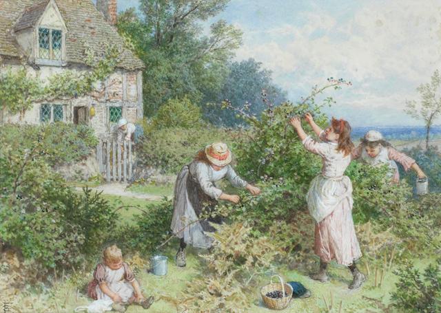 Myles Birket Foster, RWS (British, 1825-1899) Children gathering blackberries