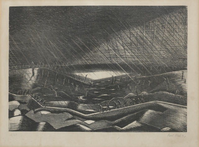 Paul Nash (British, 1889-1946) Rain, Lake Zillebeke Lithograph, 1918, on wove, signed, dated and numbered 15/25 in pencil, 255 x 362mm (10 x 14 1/4in)(I)