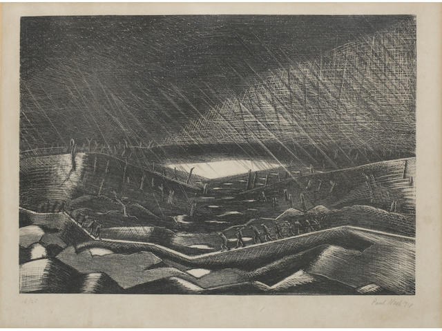Paul Nash (British, 1889-1946) Soldiers in No-Man's Land Lithograph, 1918, on wove, signed, dated and numbered 15/25 in pencil, 255 x 362mm (10 x 14 1/4in)(I)