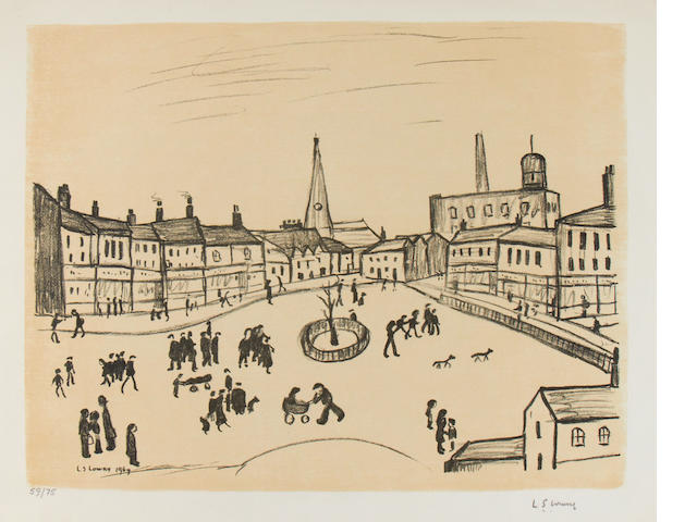 Laurence Stephen Lowry R.A. (British, 1887-1976) Tree in the Square Lithograph in black and cream, 1969, on  Arches, signed and numbered 59/75 in pencil, published by Ganymed Editions, London, with full margins, 478 x 610mm (18 3/4 x 24in)(I) unframed