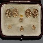 A 9ct gold gentleman's six piece dress set