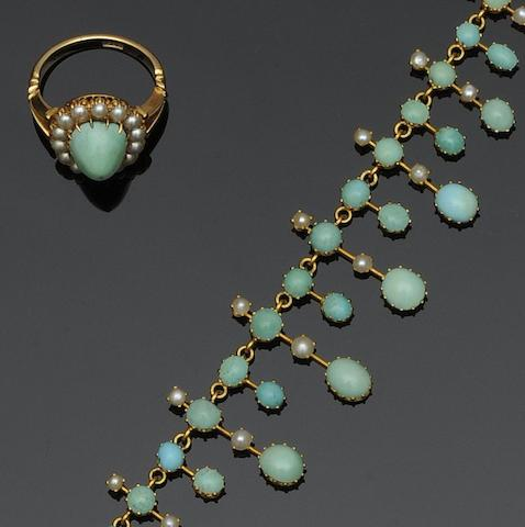 A late Victorian gold, turquoise and half pearl fringe necklace and a matching cluster ring (2)