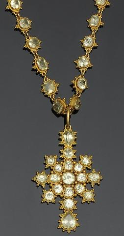 A mid Victorian chrysoberyl necklace with pendant