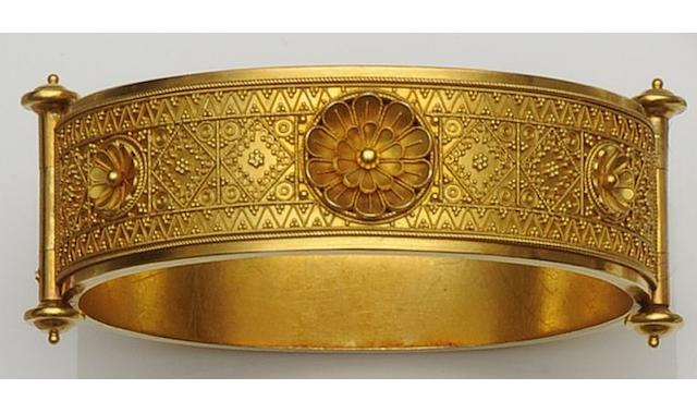 An Archaeological Revival gold bangle,