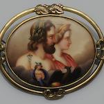A Victorian painted panel brooch