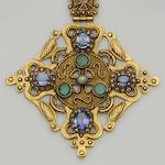 A sapphire, emerald and diamond pendant