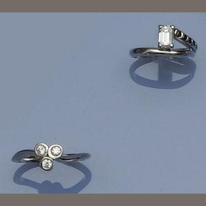 Two platinum and diamond set dress rings