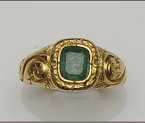 A 19th century gold and emerald ring