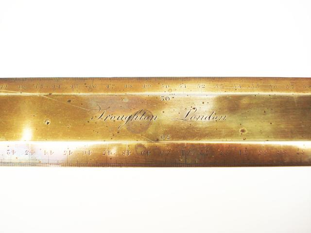 A Troughton brass rule,  English,  circa 1830,