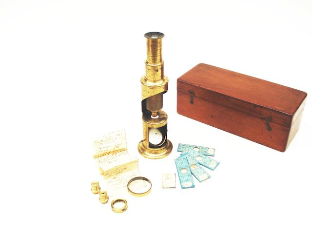 A small drum microscope,  English,  circa 1900,