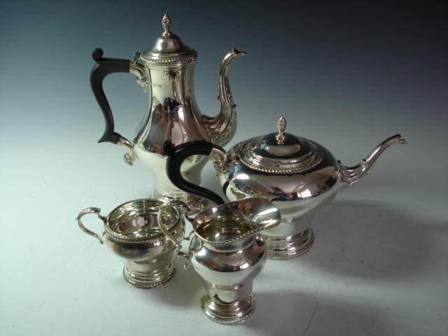 A silver four piece tea and coffee service by Mappin and Webb, Birmingham 1970