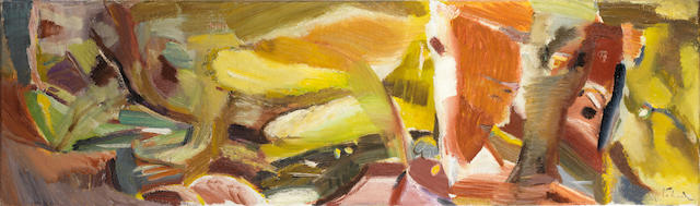 Ivon Hitchens (British, 1893-1979) Dunford Stream in April, No.1 43 x 144.9 cm. (17 x 57 in.)