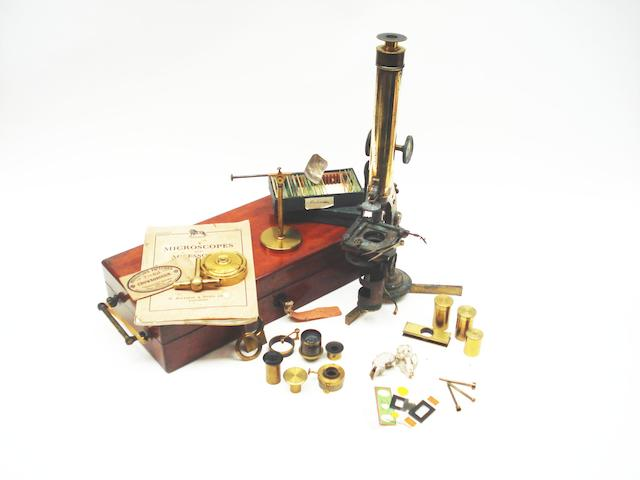 A Smith & Beck brass compound monocular microscope,  English, circa 1870,