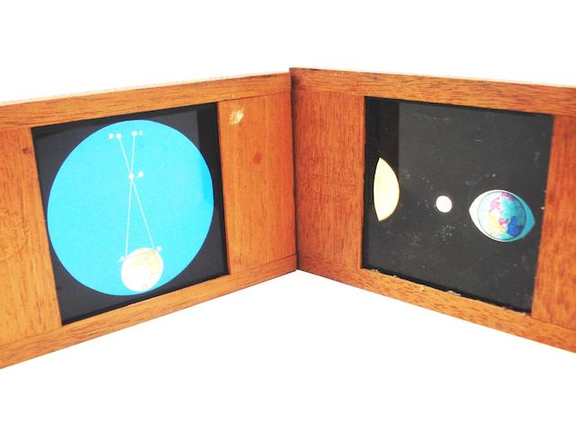 A collection of Newton & Co hand painted and mahogany framed astronomical lantern slides,  English,  mid 19th century,  (qty)
