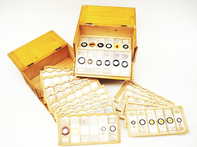 A large and comprehensive collection of microscope slides and specimens, circa 1860-1940,
