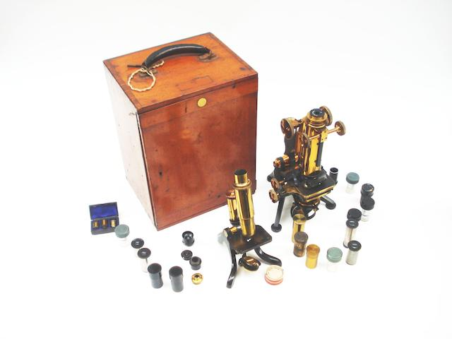 A Watson & Sons binocular microscope, late 19th century,