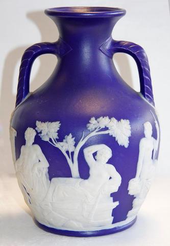 A Staffordshire earthenware Portland vase