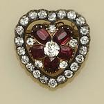 A Victorian diamond and ruby heart pendant/brooch