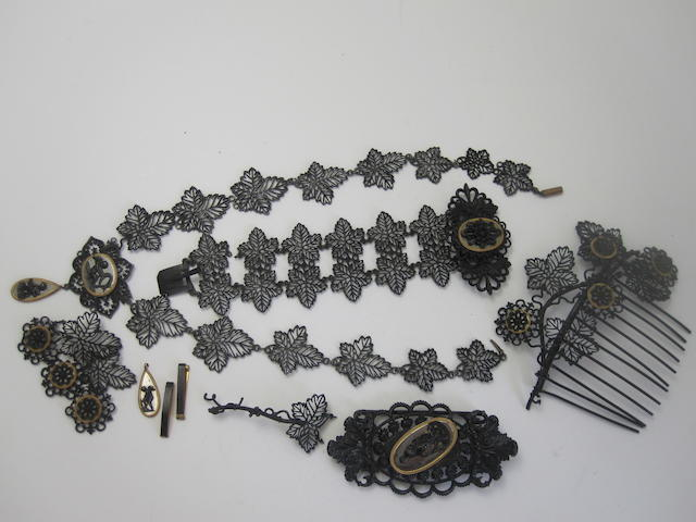 Suite of Berlin  iron jewellery