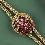 Blanc Pain: An 18ct gold and ruby lady's wristwatch