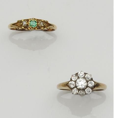 A diamond cluster ring and an emerald ring (2)