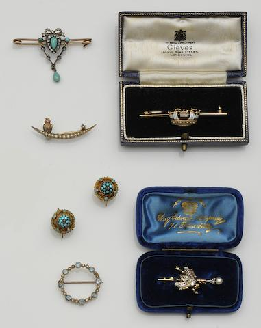 A collection of Victorian and later brooches (9)