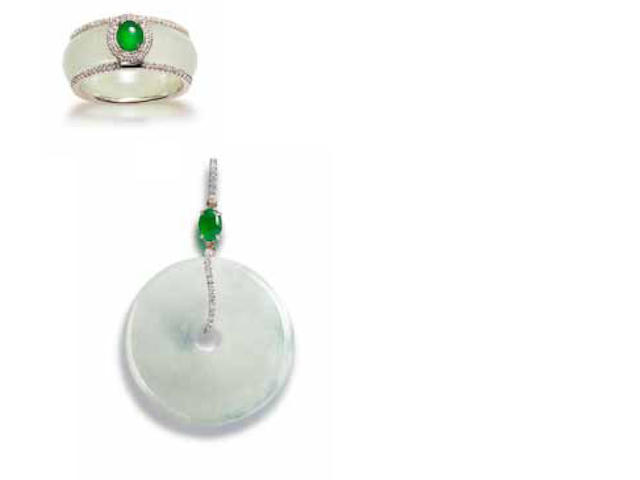 A jadeite and diamond pendant and ring suite (2)