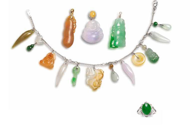 A group of jadeite and diamond jewellery (5)