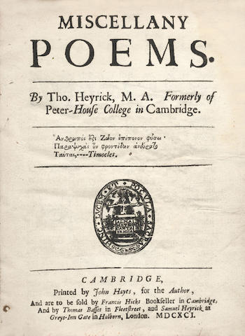 HEYRICK (THOMAS) Miscellany Poems, 1691